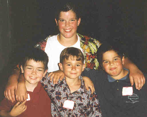 2001 Andrew Family Reunion - (L to R) Thomas Martin with Jacob Lenhardt (3rd Cousins) and Jacob & David Hopkins (5th Cousins) - Click on Picture to View Full Screen
