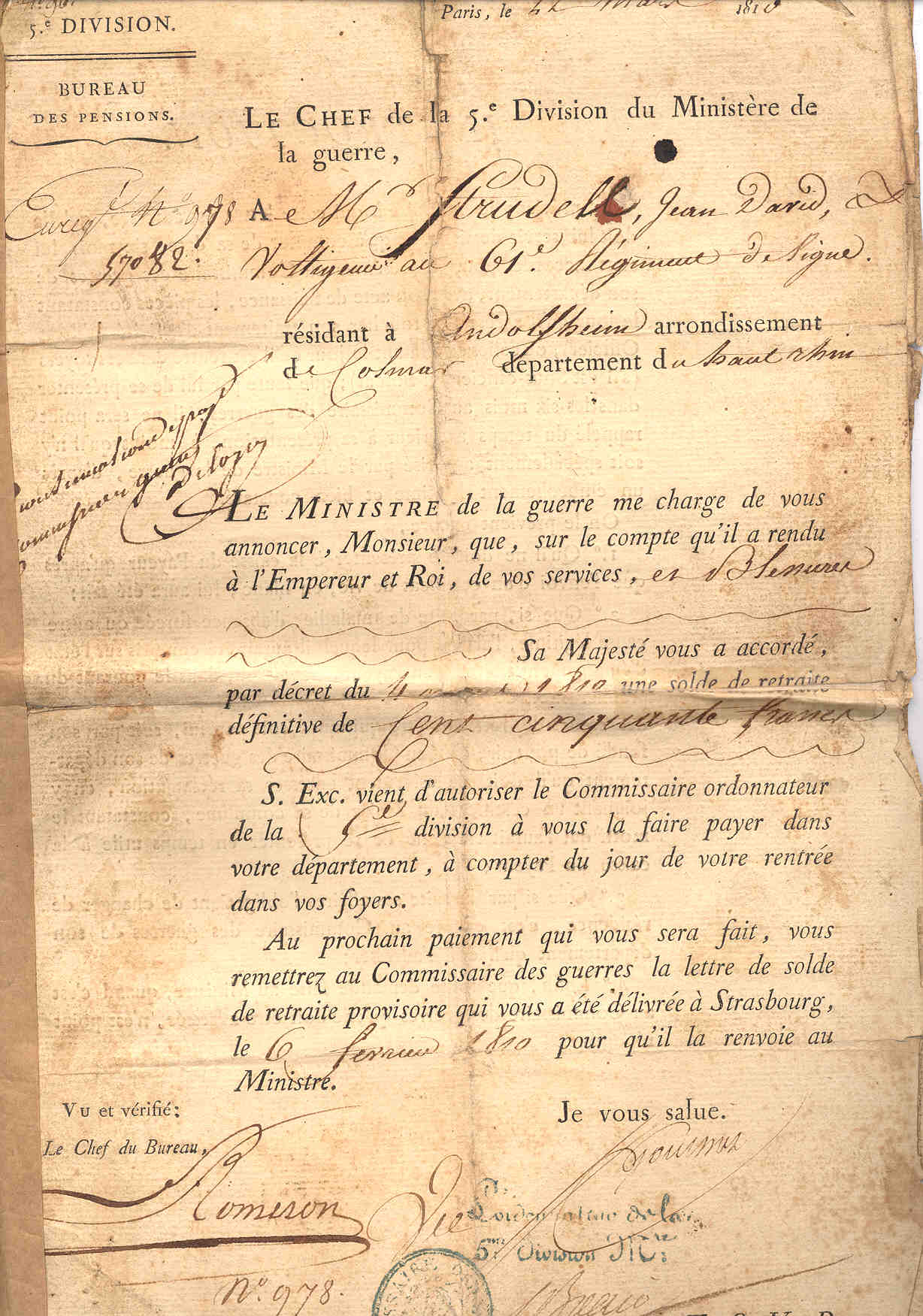 Discharge Papers Napoleon 